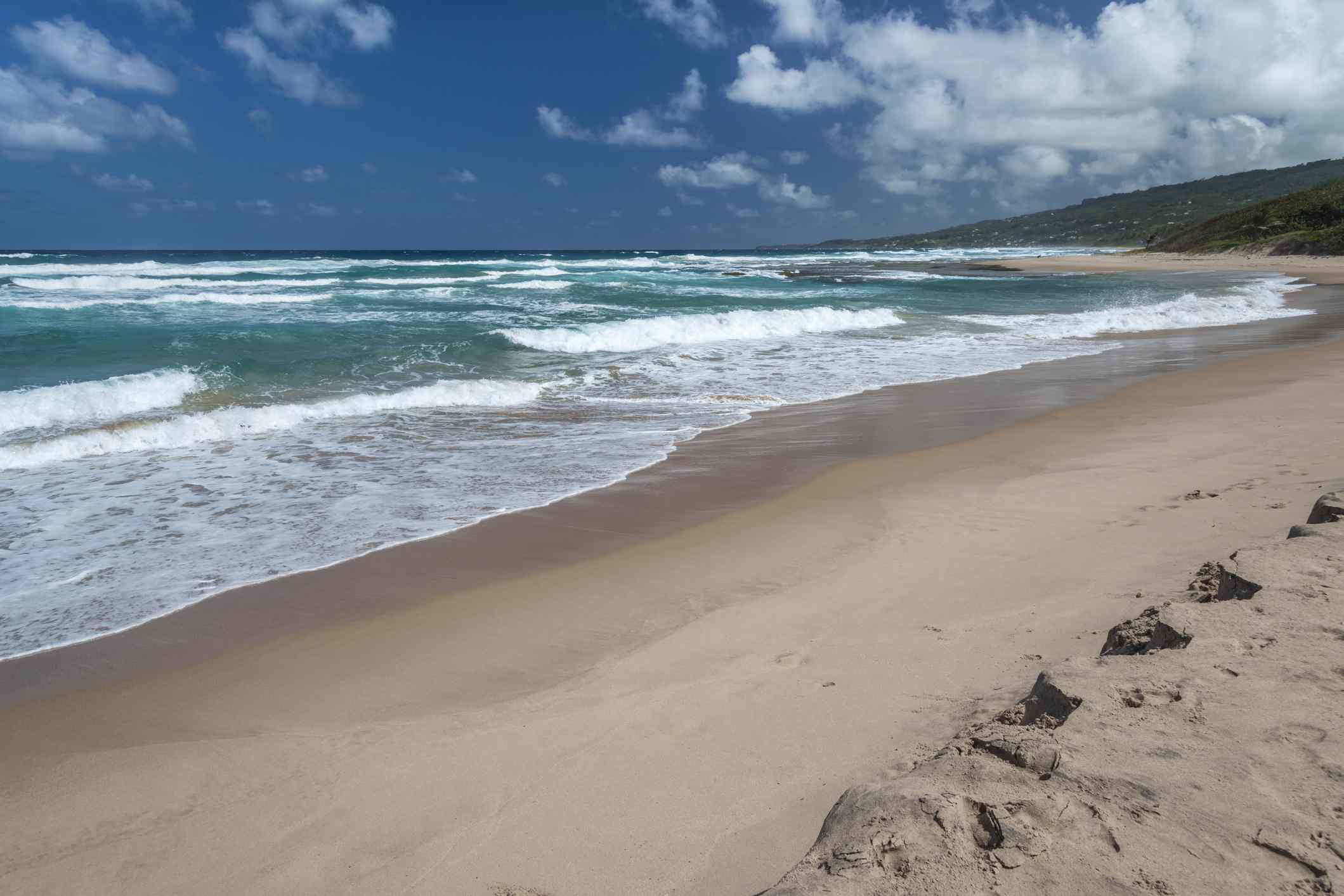 Waves crashing ashore on cattlewash beach