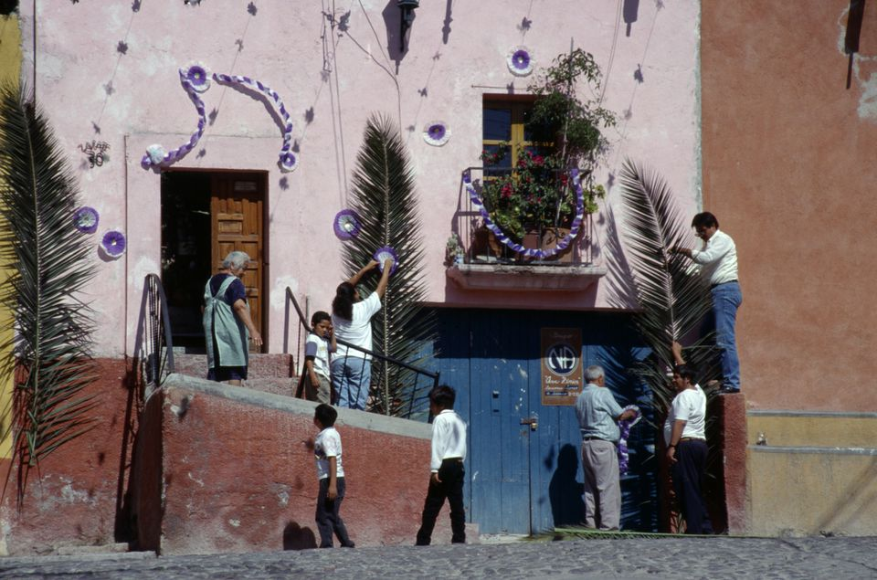 Decorations for Palm Sunday in San Miguel de Allende