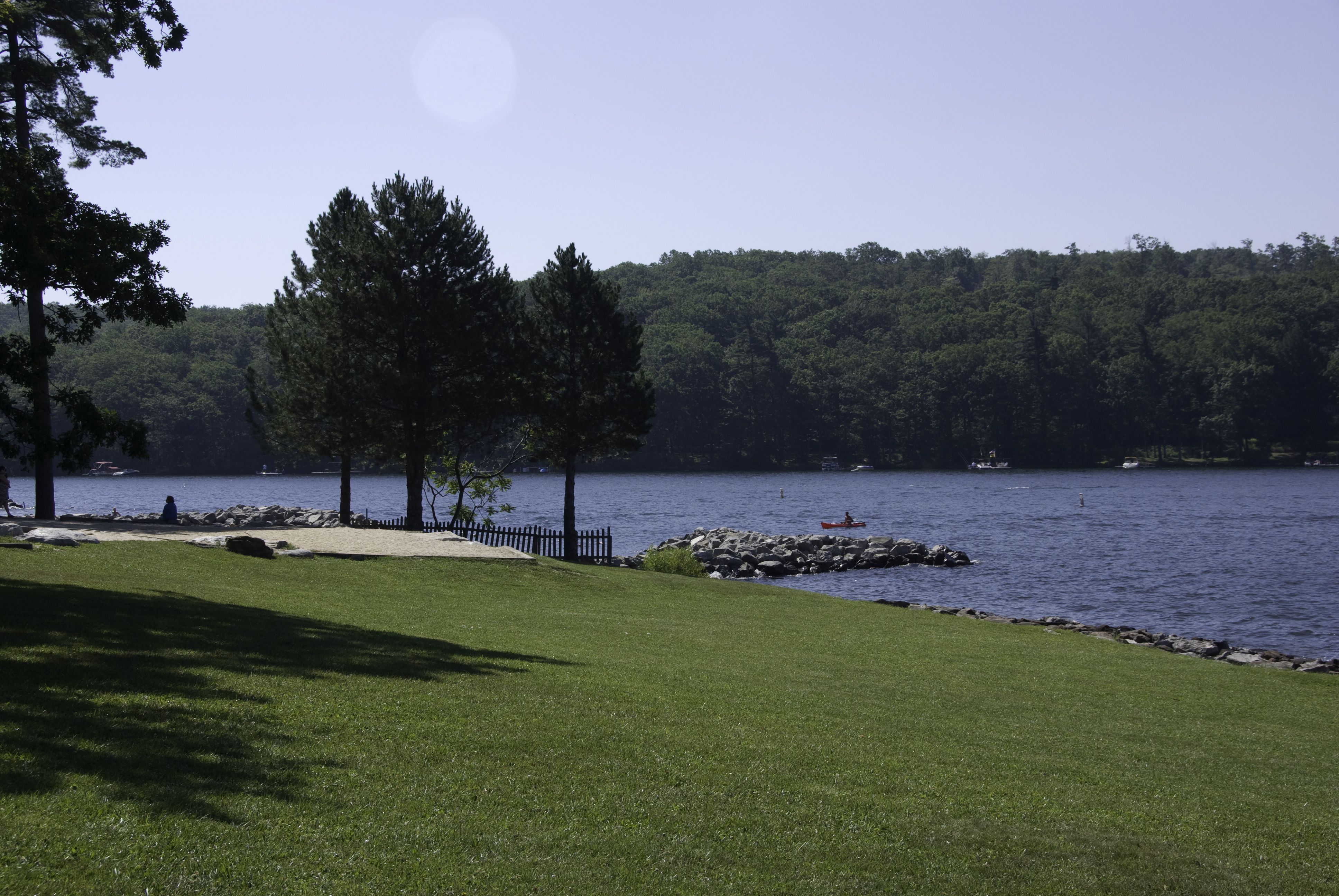 Grassy shore of Deep Creek Lake lined with trees and rocks