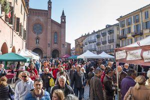 People walking in Alba (Italy) during Truffle Fair