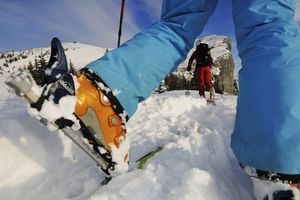 People ski touring at Steinplatte, Reit im Winkl, Chiemgau, Upper Bavaria, Bavaria, Germany, Europe