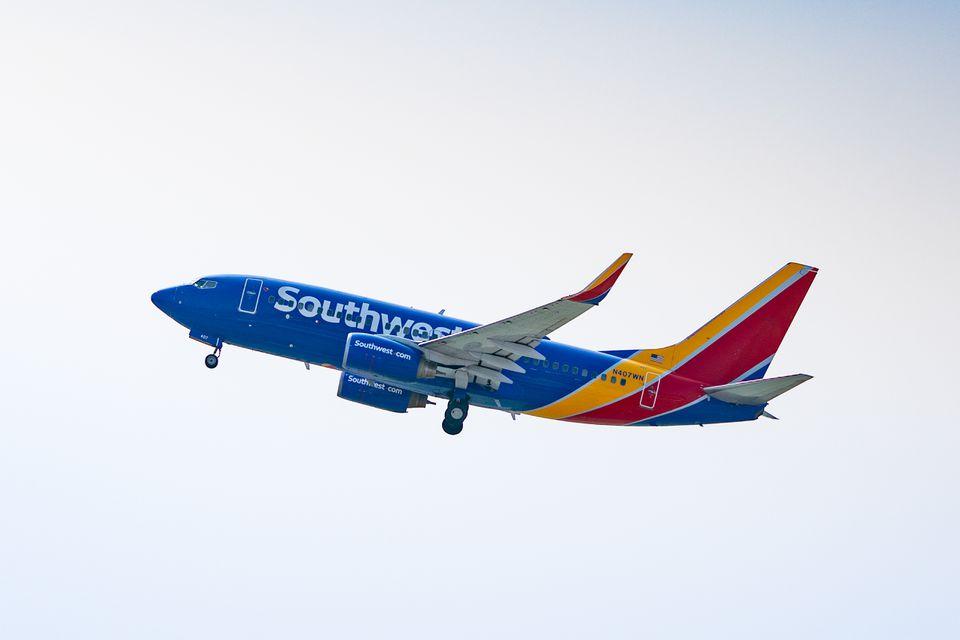 Southwest airlines jet flying