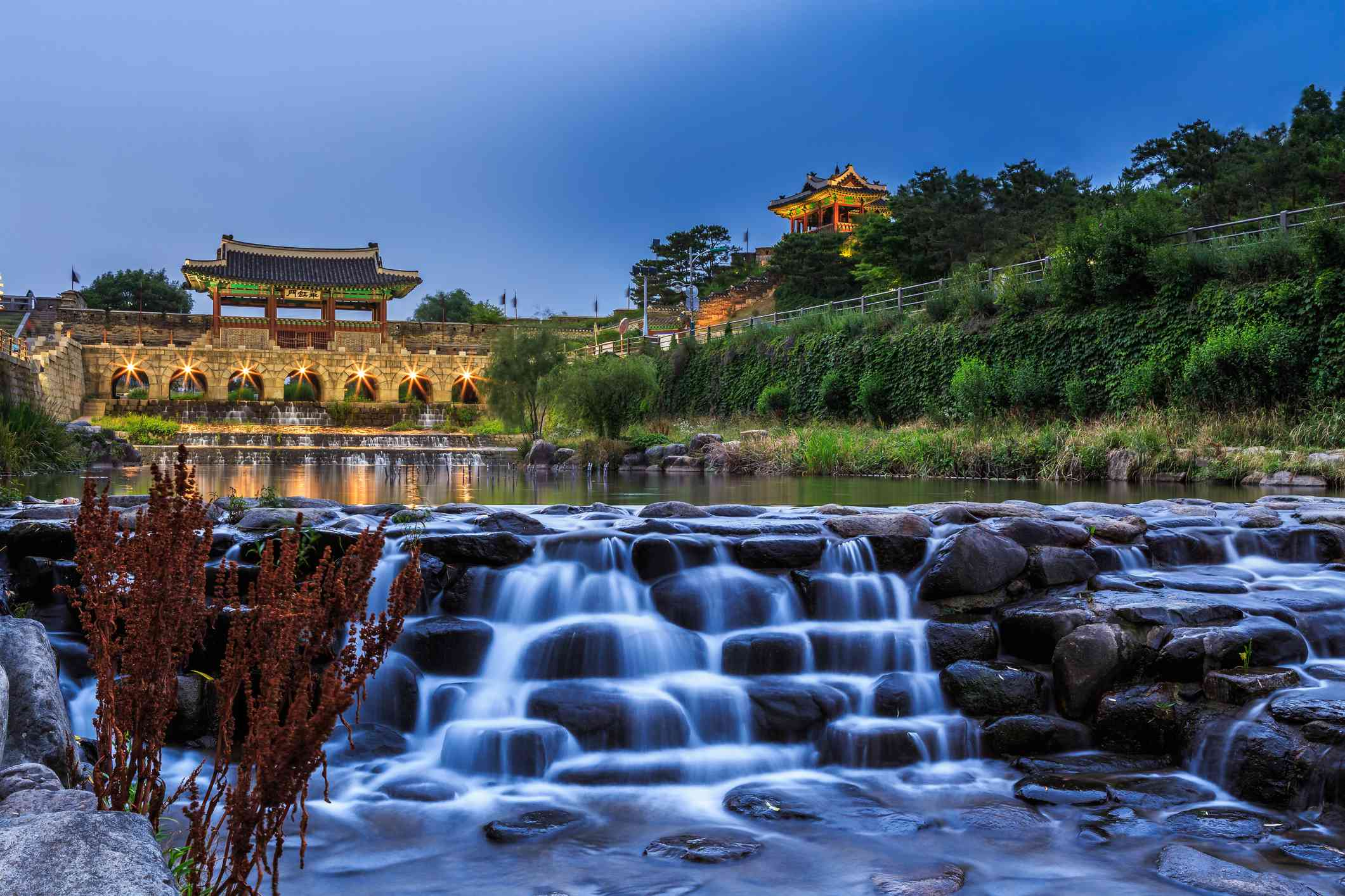 Hwahongmun with a little cascade at night