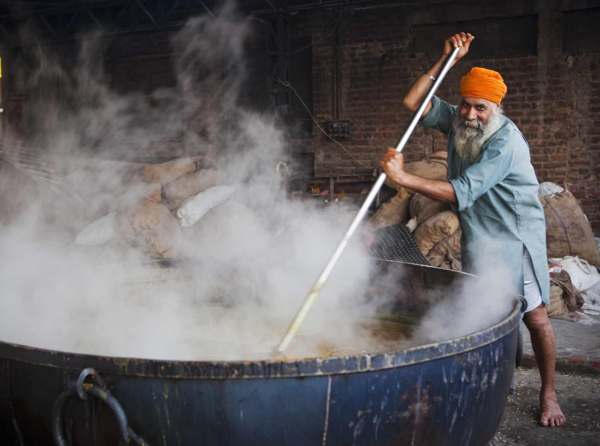 Volunteer cook at Langar (Community kitchen) at Darbar Sahib or Golden Temple