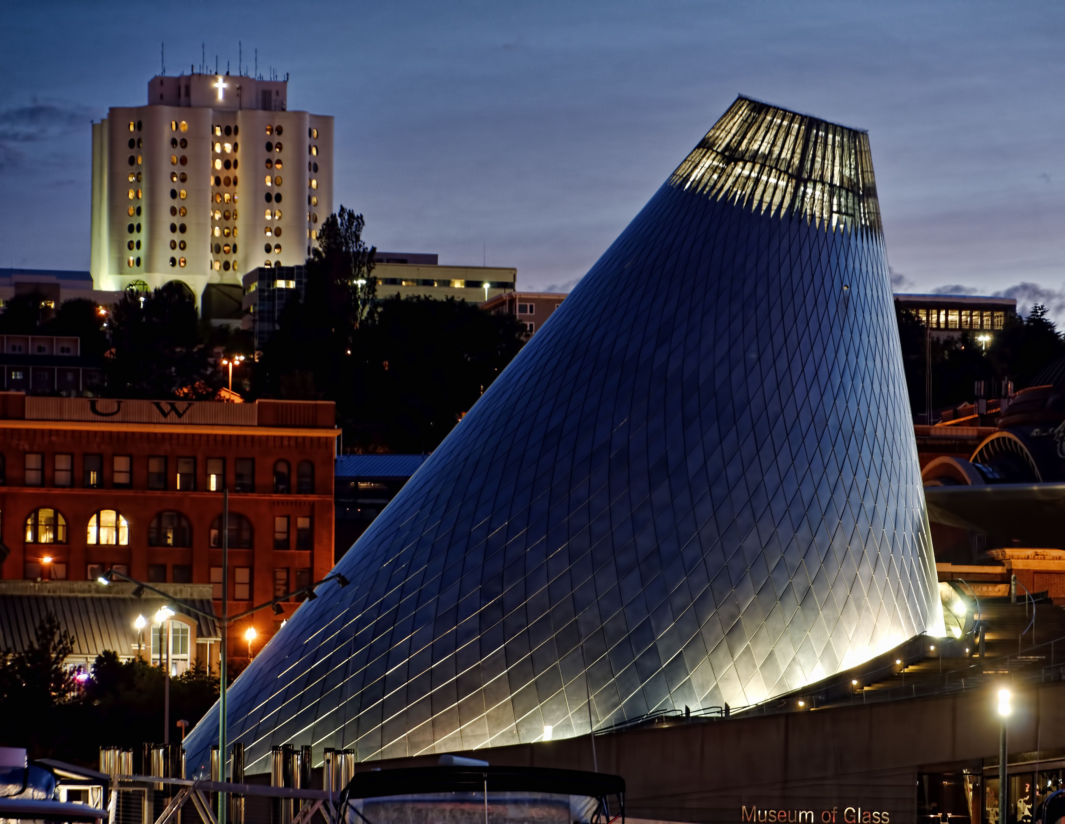 Arthur Erickson's distinctive tiled cone design for the Museum of Glass, Tacoma
