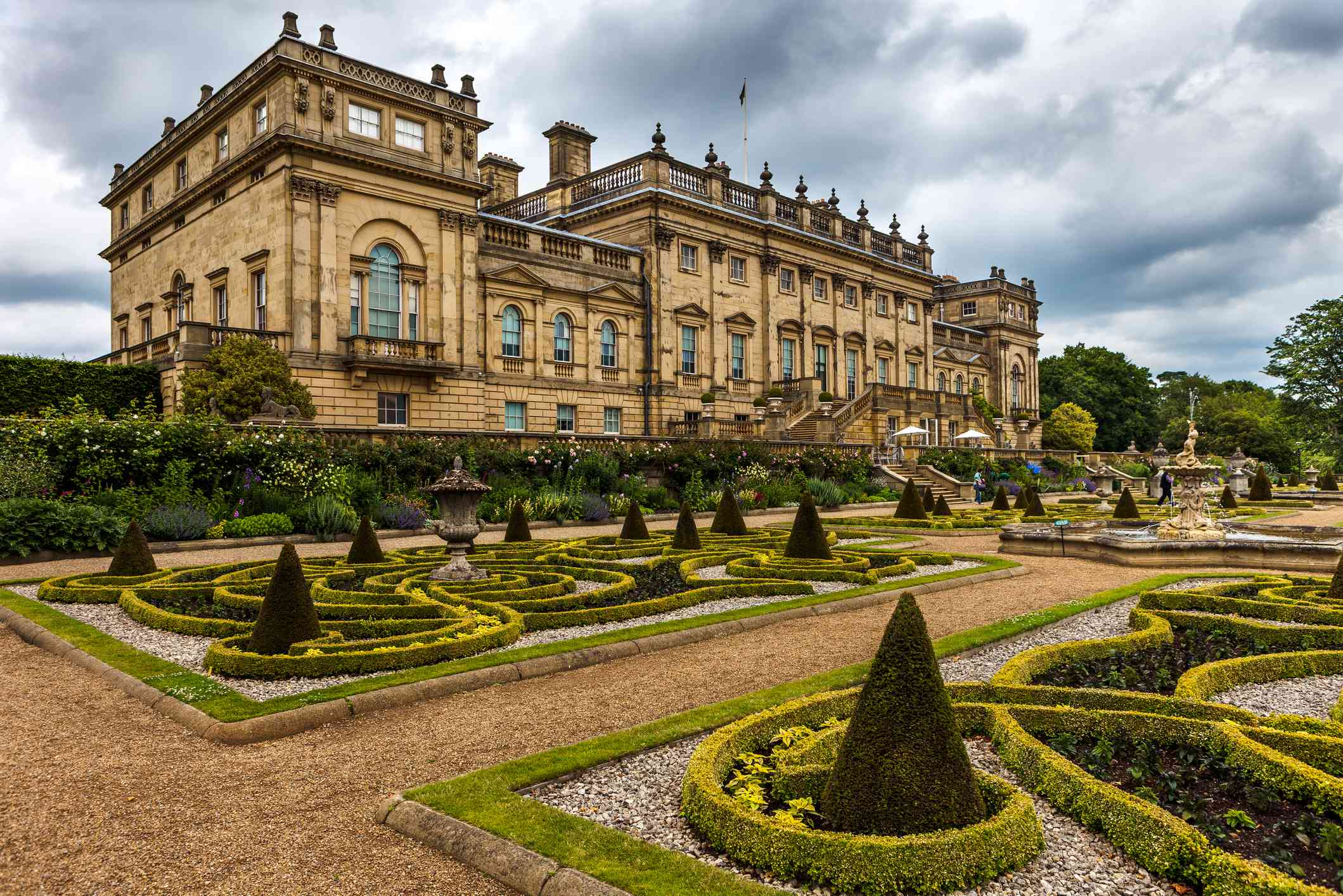 Harewood House and it's manicured shrubs on an overcast day