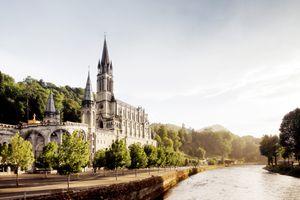 Basilica of Notre Dame du Rosaire in Lourdes (France).