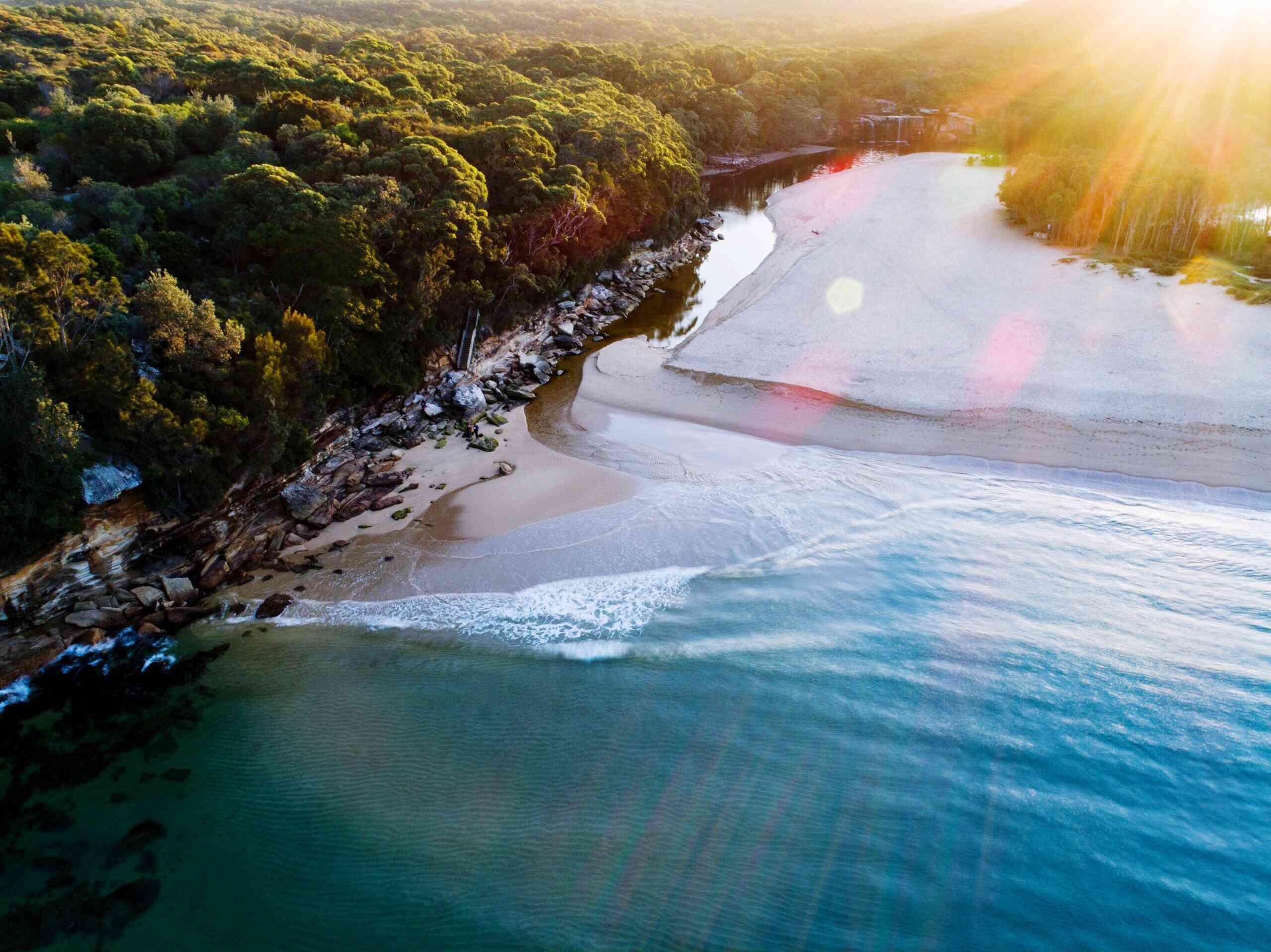 Aerial view of Wattamolla Beach
