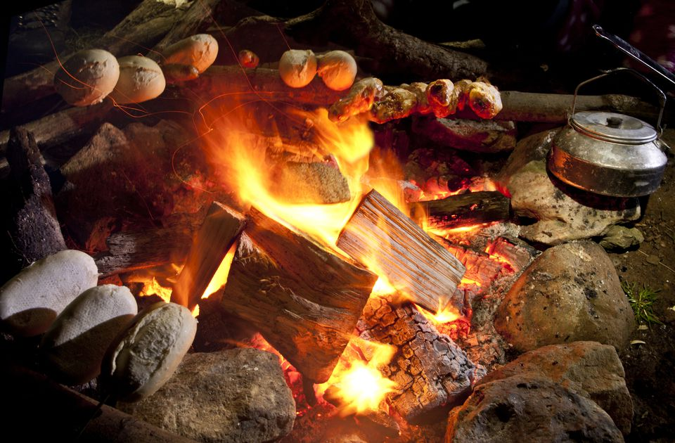 Make fresh bread over the campfire in a dutch oven or coffee can.