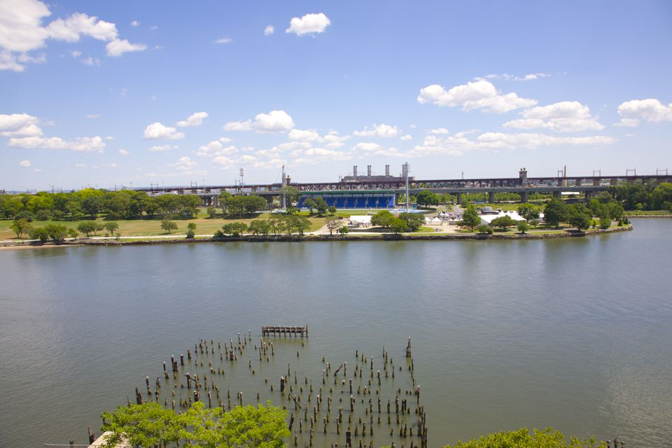 Calm waters of East River, NY overlooking Randall's Island