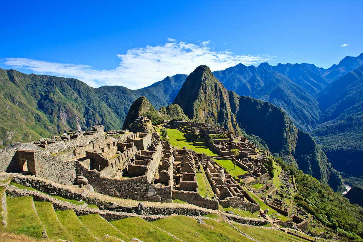 Machu Picchu is an Incan stone fortress sitting atop a mountain.