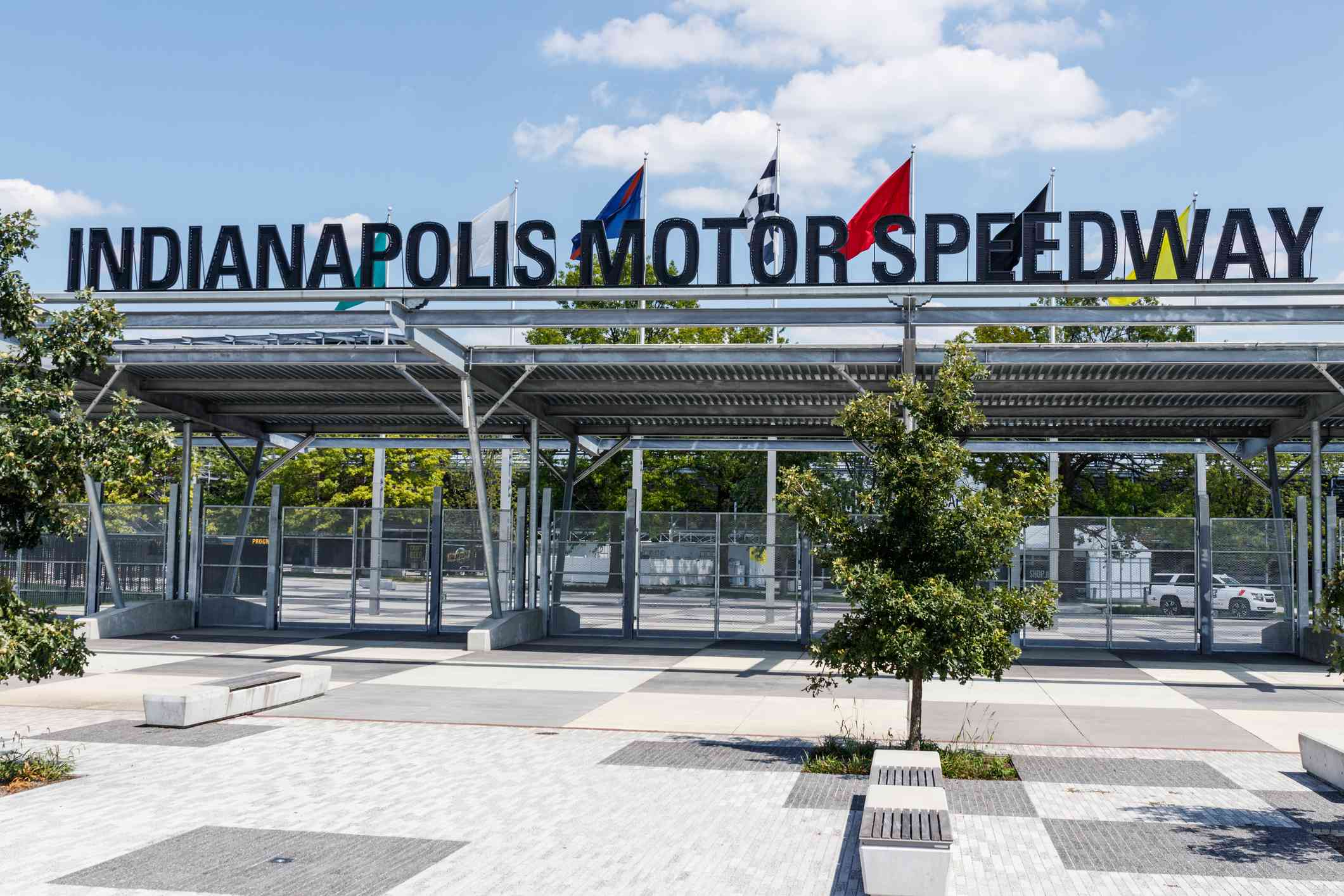 Indianapolis Motor Speedway Gate 1 Entrance. IMS Hosts the Indy 500 and Brickyard 400 Auto Races XVI