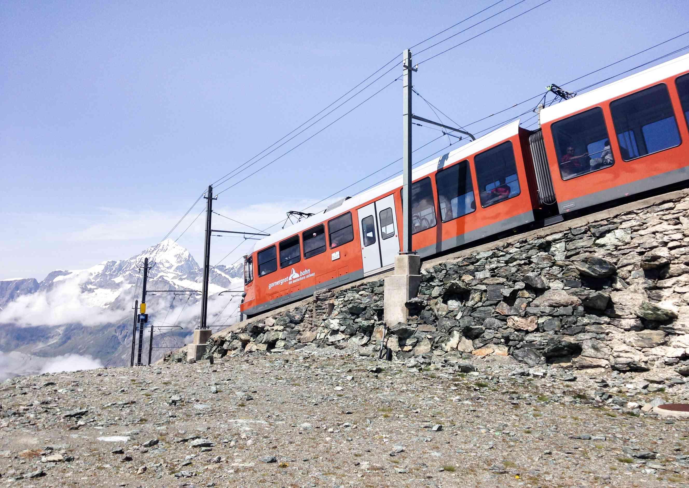 Winter train through Zermatt
