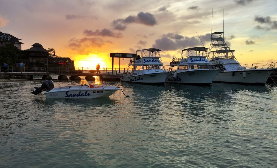Sunset at the Sandals Ocho Rios marina