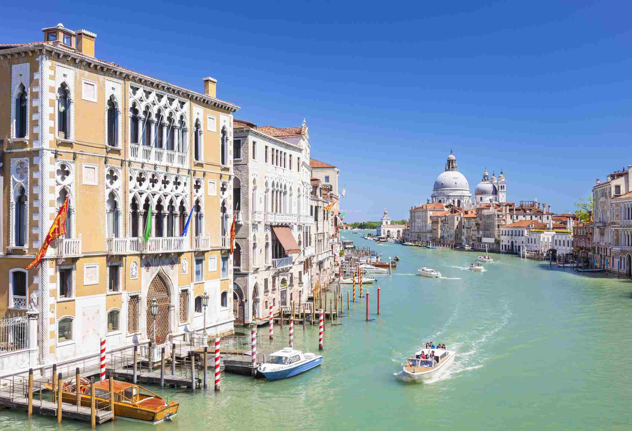 Vaporettos on the canals of Venice