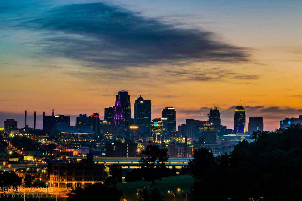 View Of Kansas City At Sunset