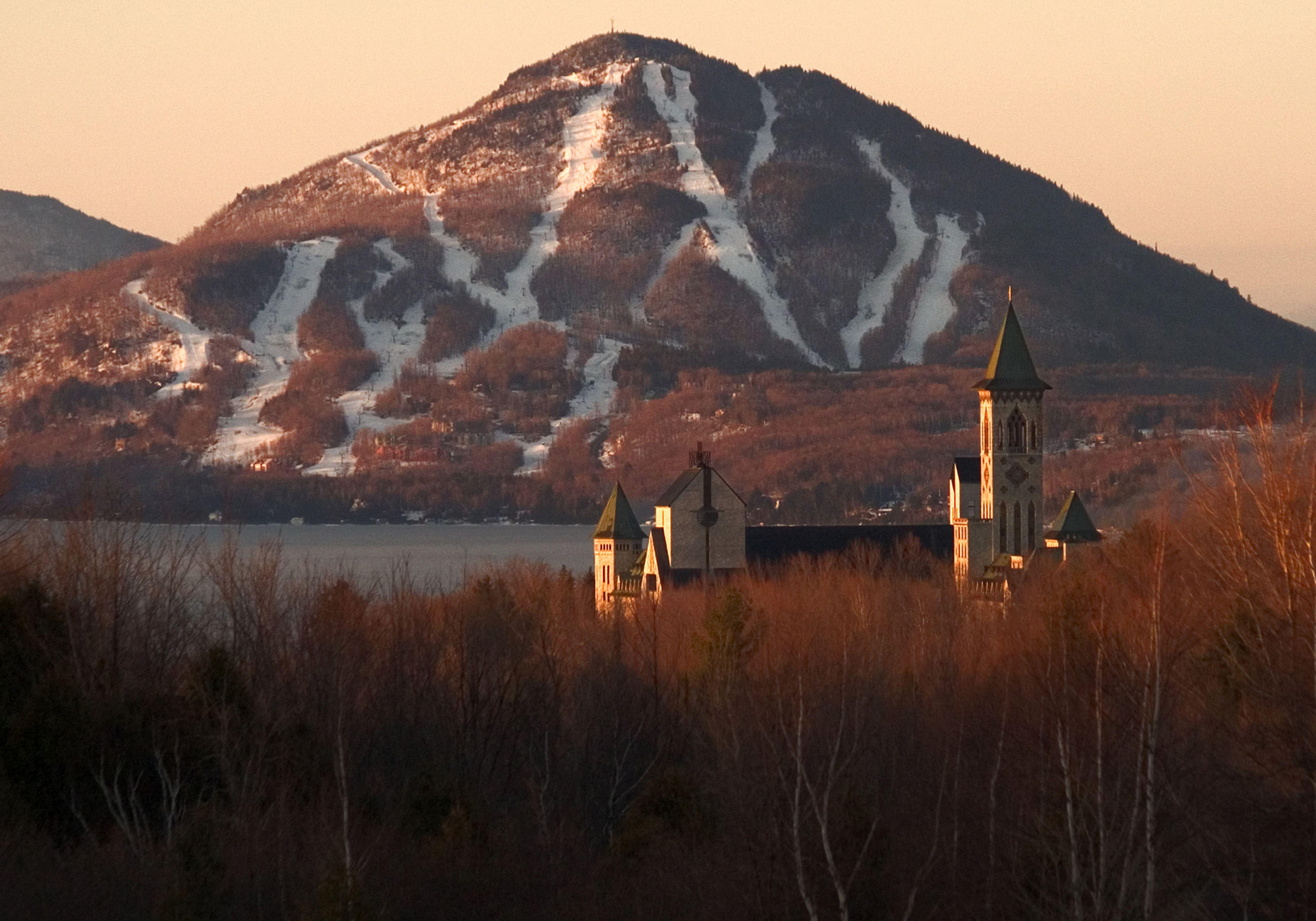 Abbey Saint Benoit Du Lac with Owls Head Ski Area in the Distance, Magog, Quebec, Canada