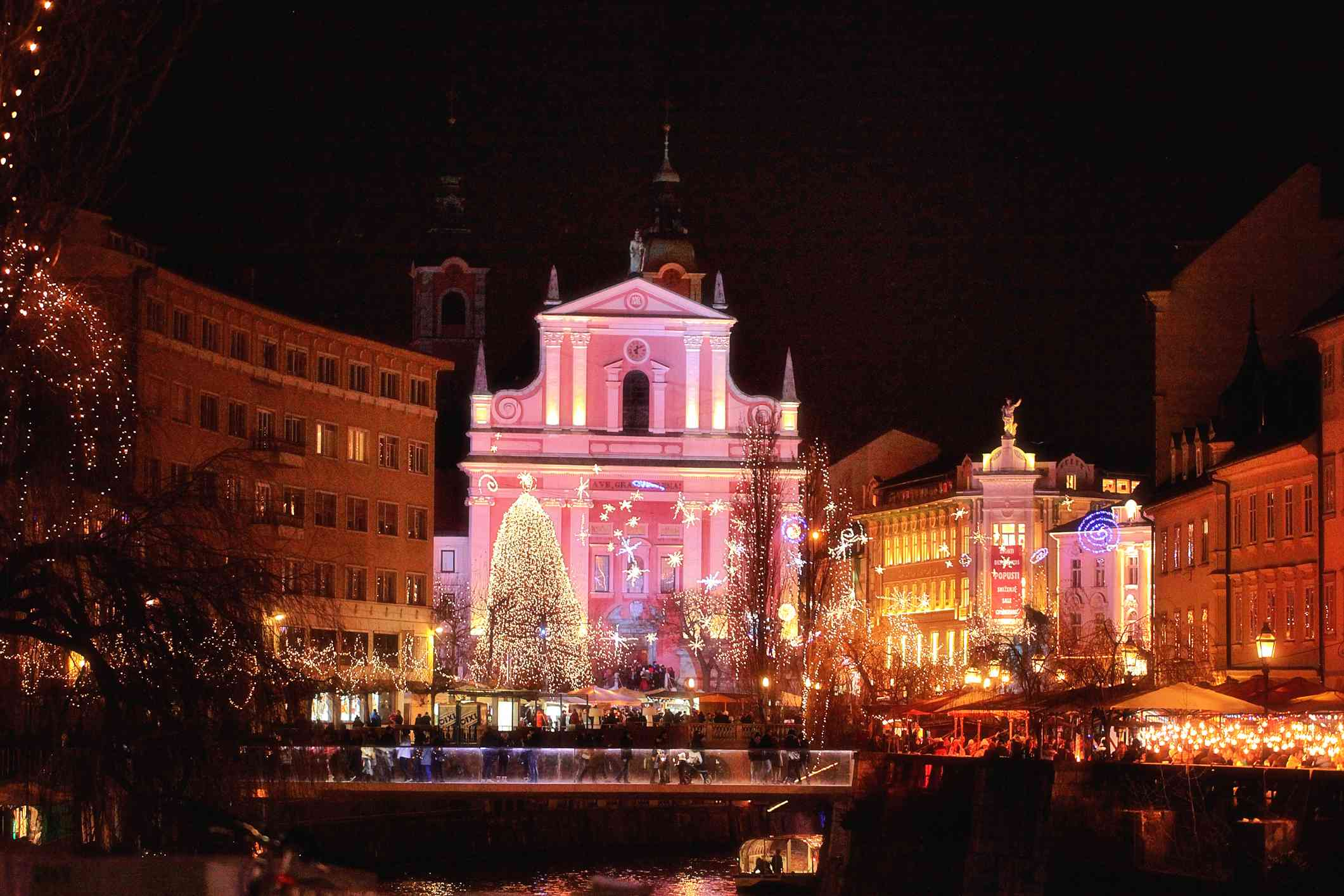 Beautiful christmas light in the heart of old town Ljubljana