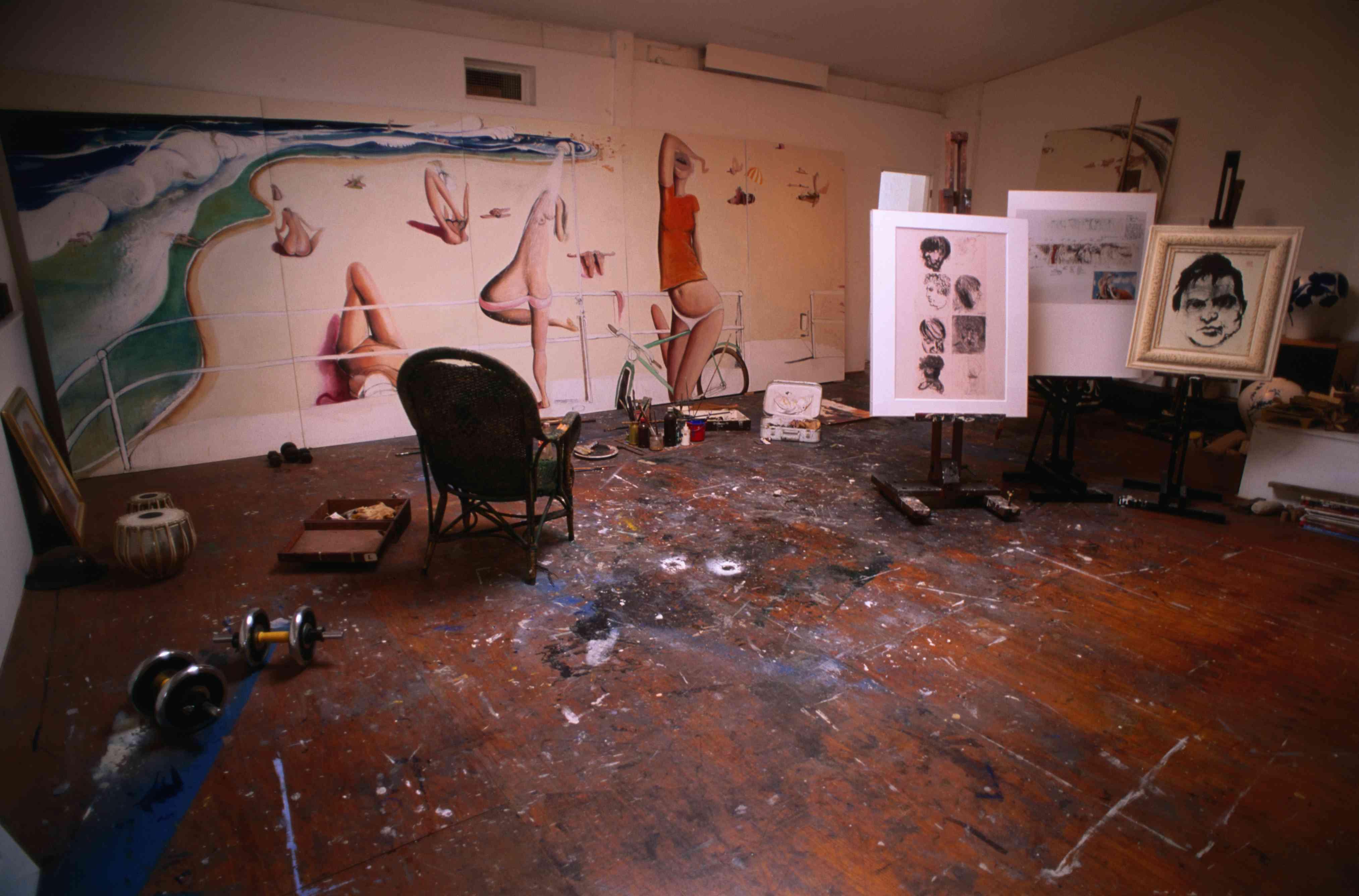 Art work in the studio of deceased artist, Brett Whiteley, now part of a public gallery