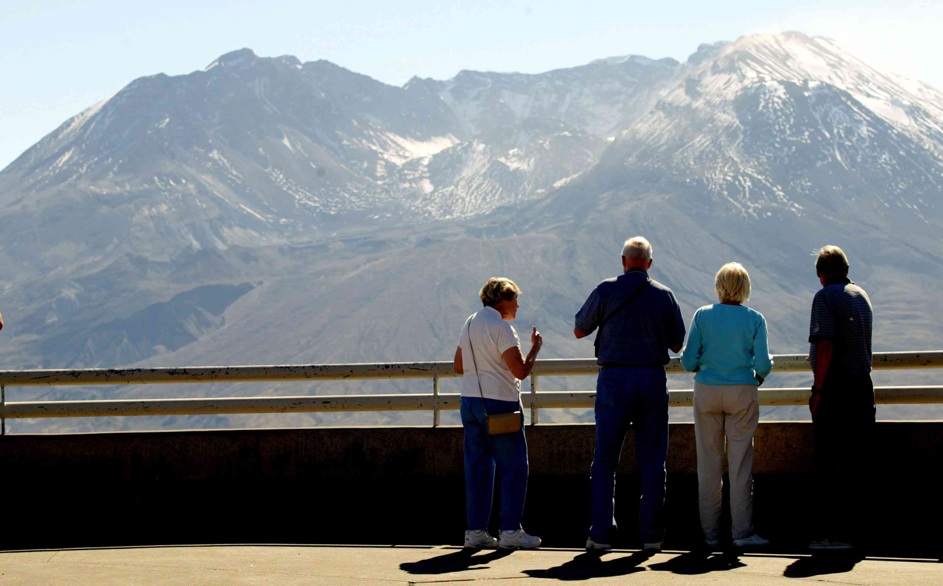 Visitors take in the view of Mt. St. Helens from the Johnston Ridge Observatory.