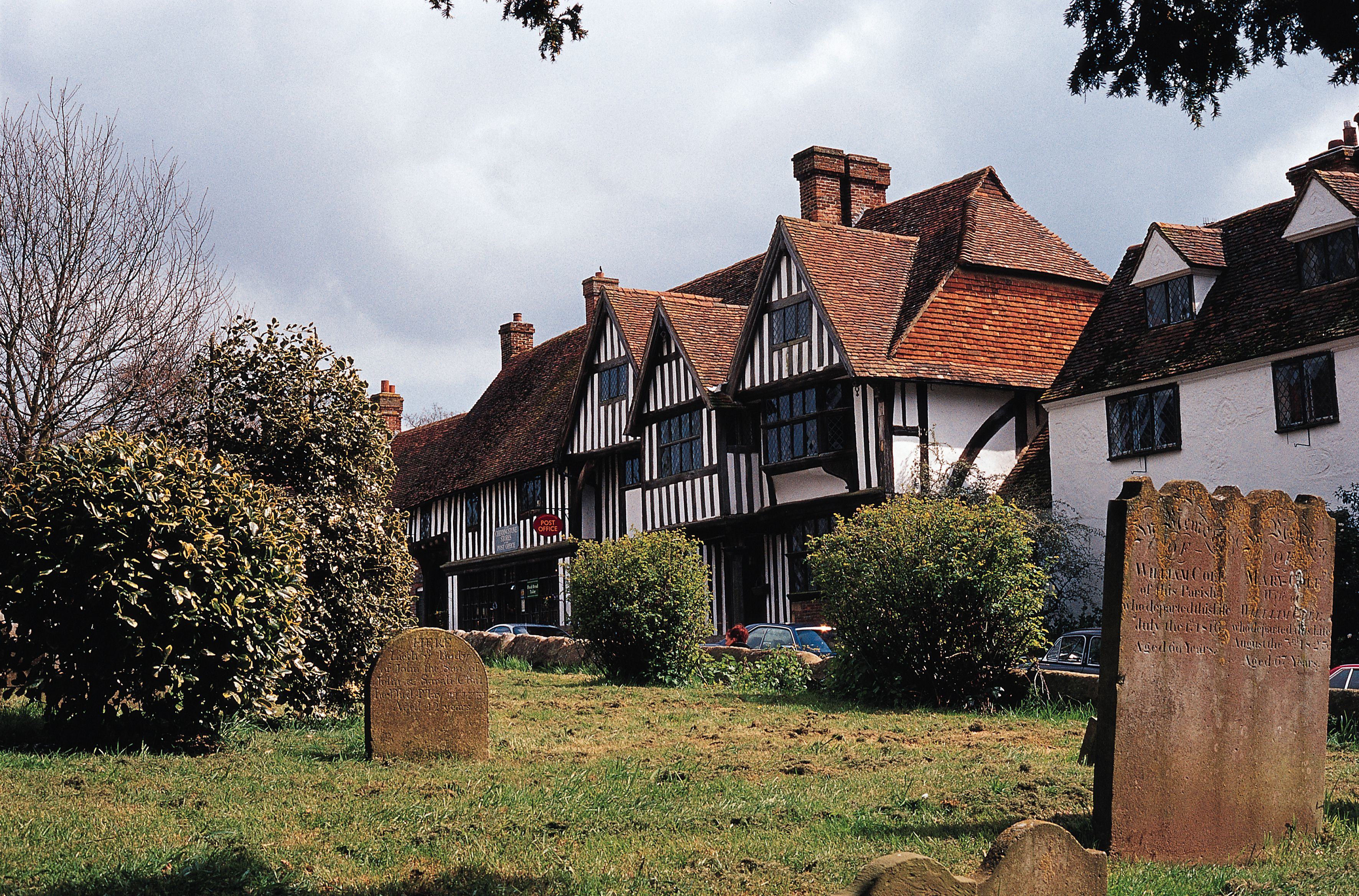 Half-timbered facade of the post office at Chiddingstone in Kent, England.