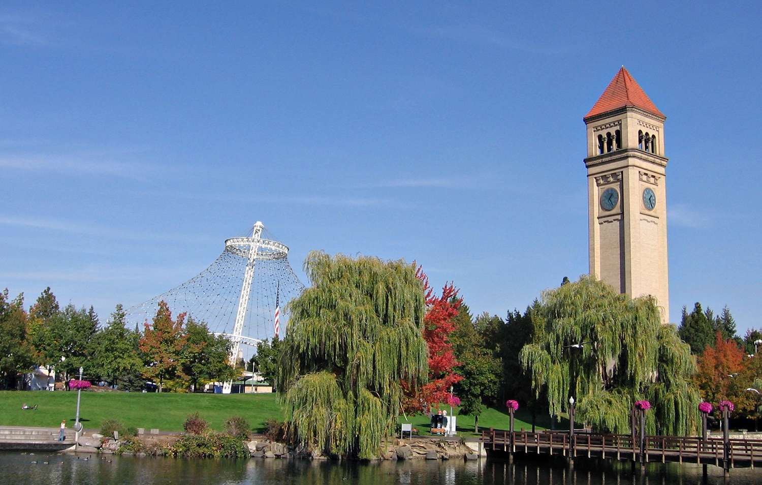 The Great Northern Railway Depot clock tower and United States Pavillion in Spokane's Riverfront Park.
