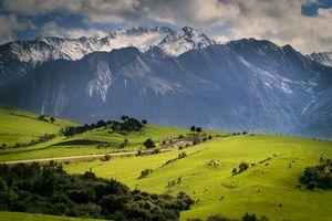 Rural scene with mountains behind, Kaikoura, Gisborne, New Zealand