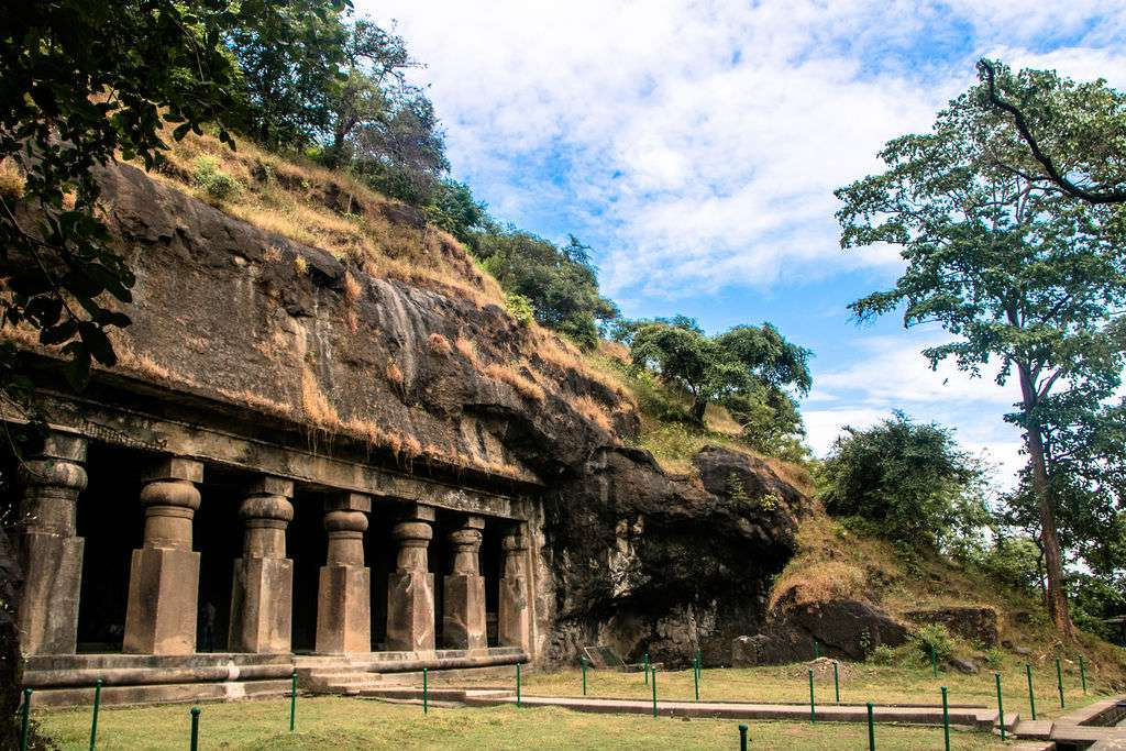 The exterior of the elephanta caves with carved out pillars
