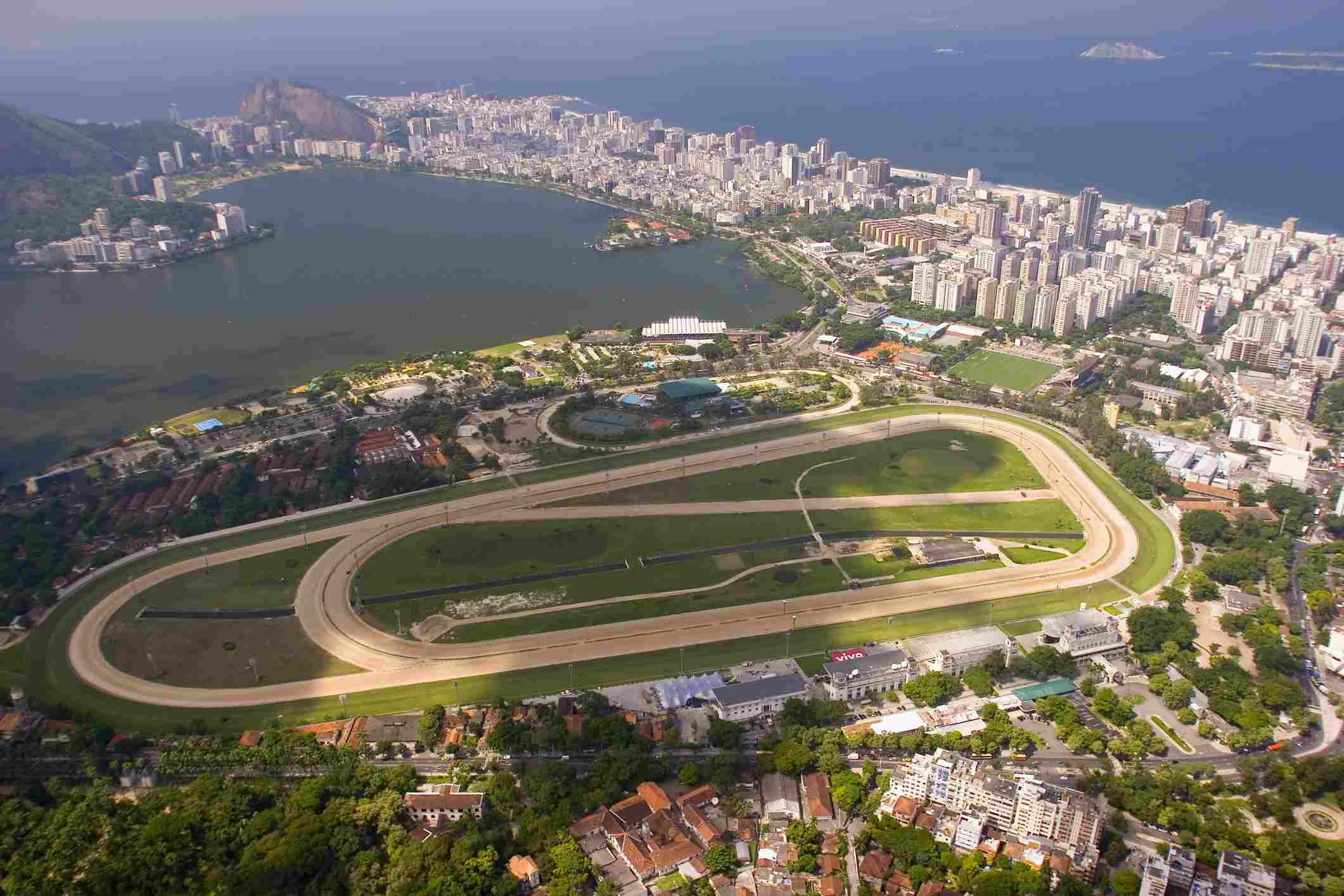 aerial view of the jockey club track in rio