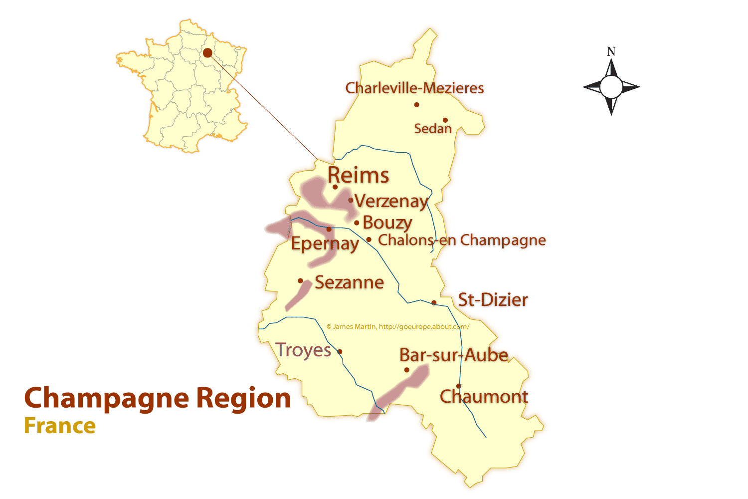 Map Of France Lille Region.Champagne Region Map And Guide To The Best Cities