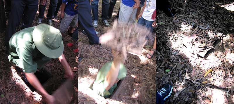 A Guide at Cu Chi demonstrates the small size and the invisibility of the average Cu Chi tunnel.