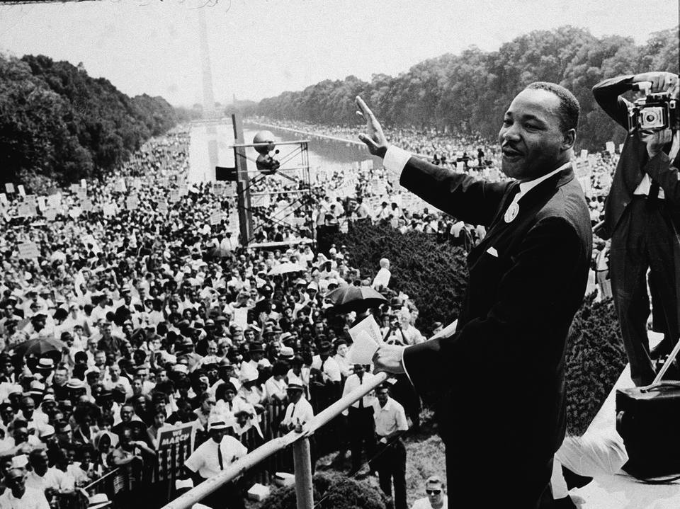 Dr. Martin Luther King addresses the crowd at the March on Washington, 1963