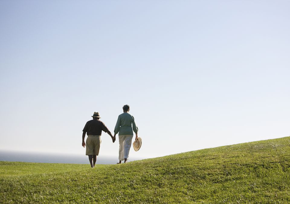 Senior couple holding hands and walking on grass