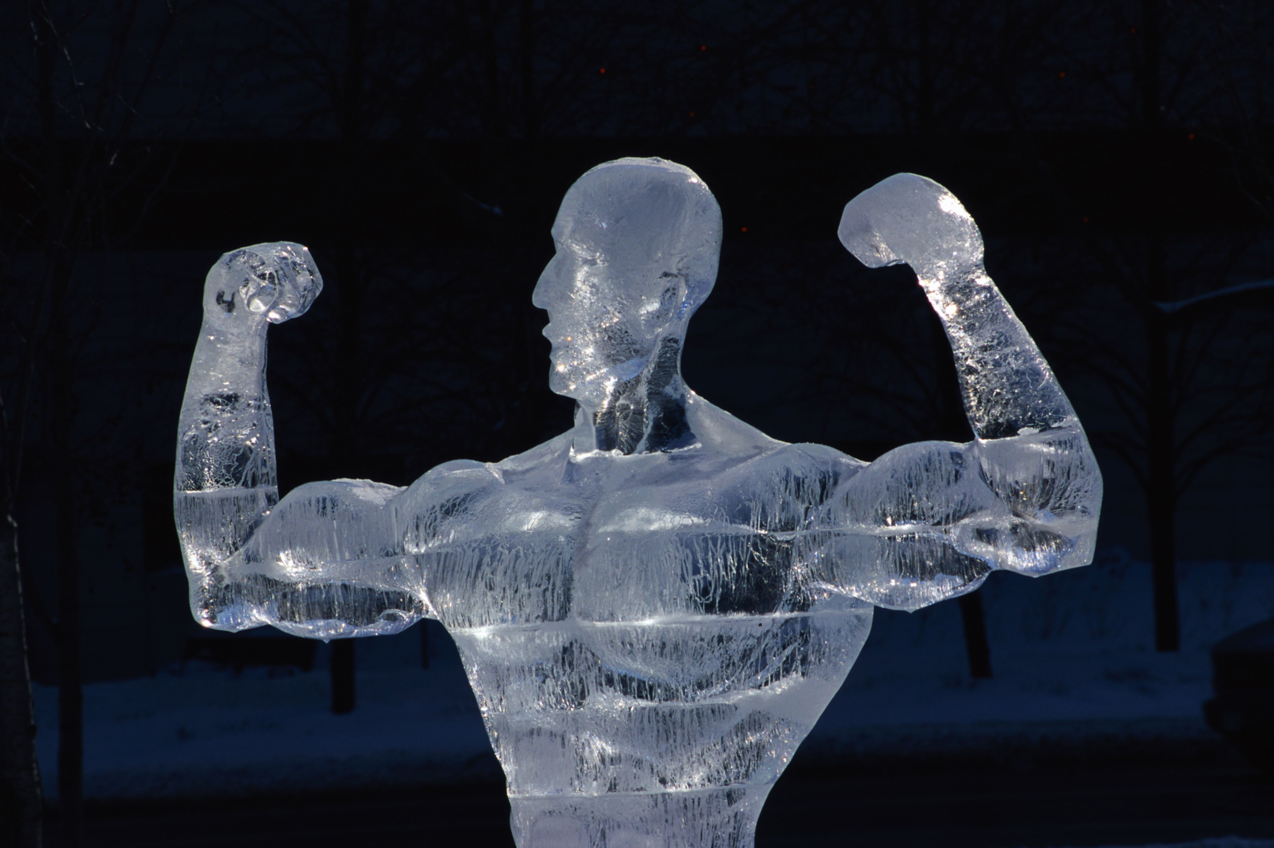 Ice Sculpture of Man Flexing Muscles