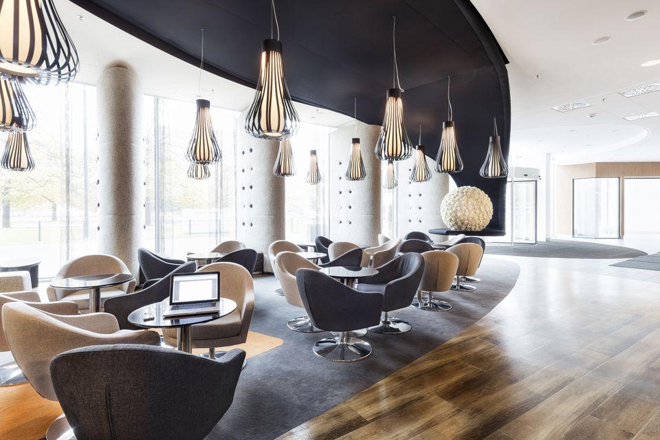 Poland, Warsaw, lounge at hotel