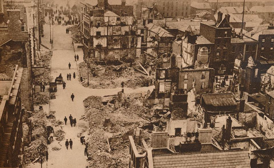 The Easter Rising, Ireland, 1916 (1935). Damage caused in Dublin by the disturbances which broke out on 24 April. This view resembles the scenes in Flanders. From The Royal Jubilee Book 1910-1935