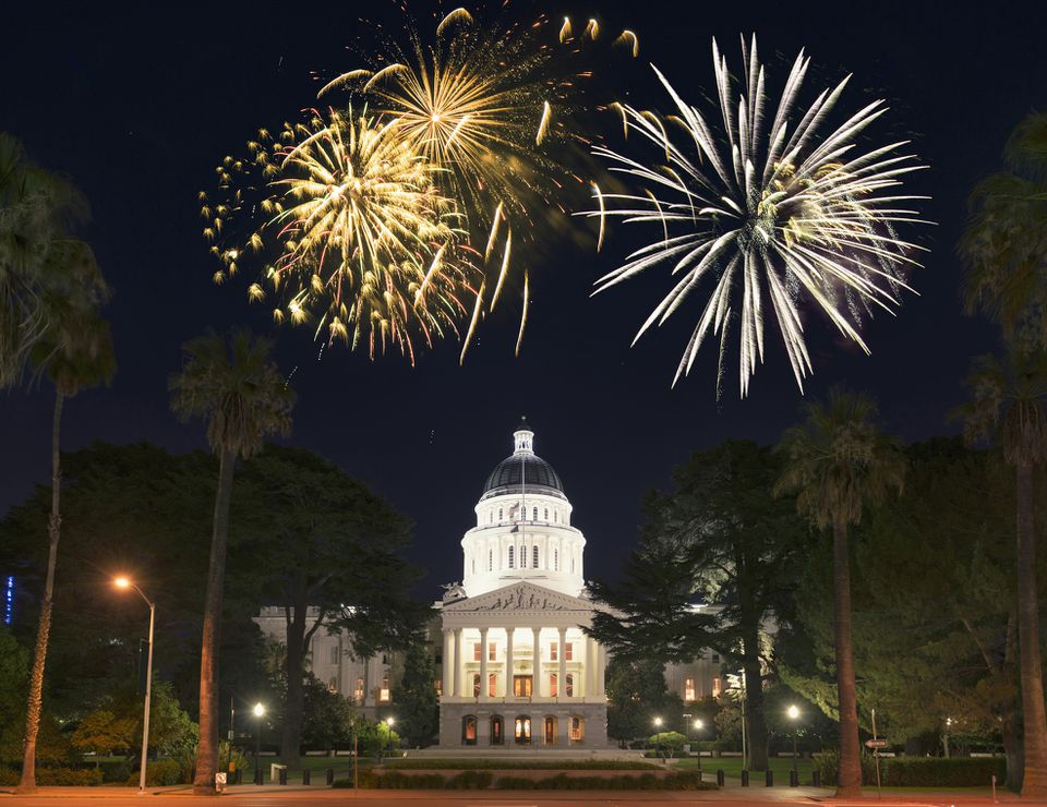 Sacramento capital building with fireworks for a national day