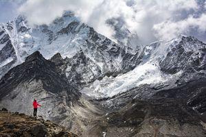 A solo trekker in Nepal