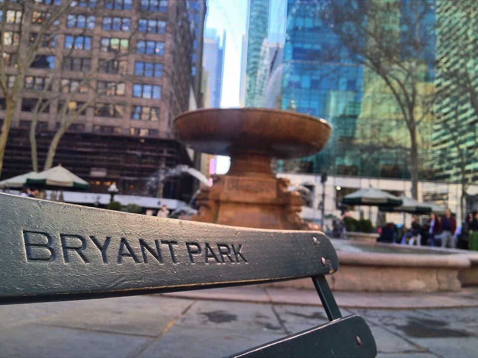 Text On Bench At Bryant Park In City