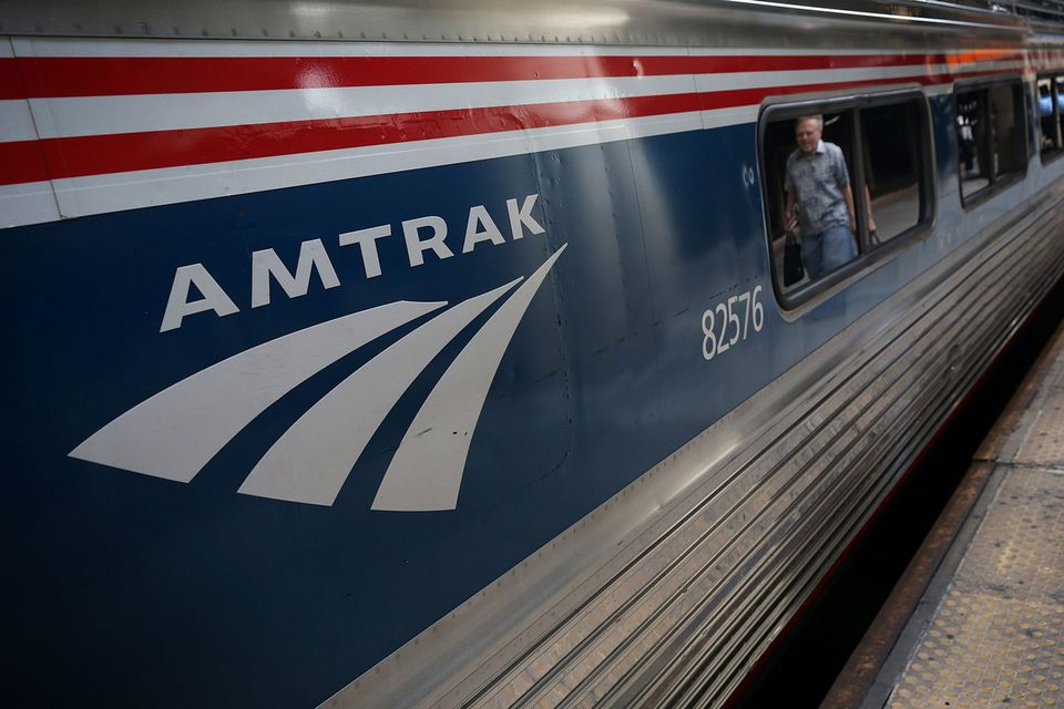 Amtrak train at platform