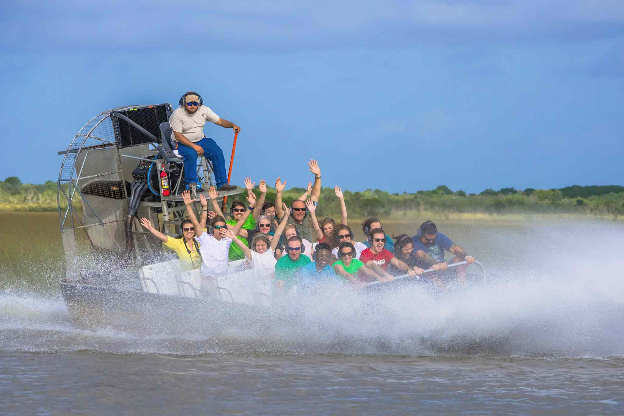 People in a fan boat at Everglades Alligator Farm