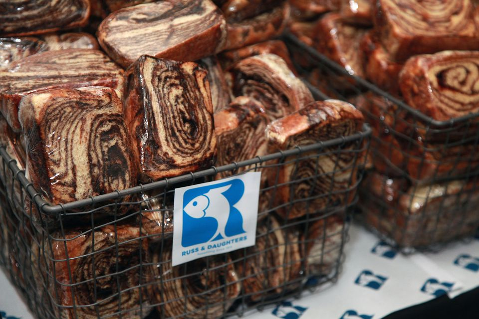 Baskets of babka from Russ and Daughters.