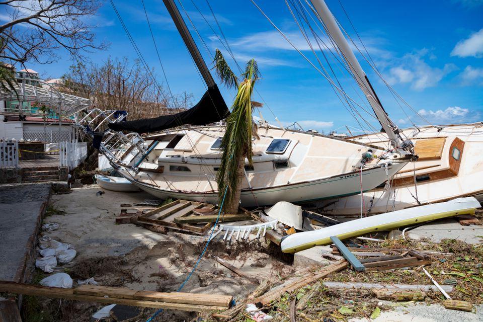 Sailboats on shoreline hurricane Irma downtown Cruz Bay, St John