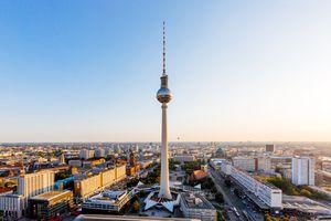 Aerial view of Berlin skyline with Frehnsehturm TV Tower, Berlin, Germany