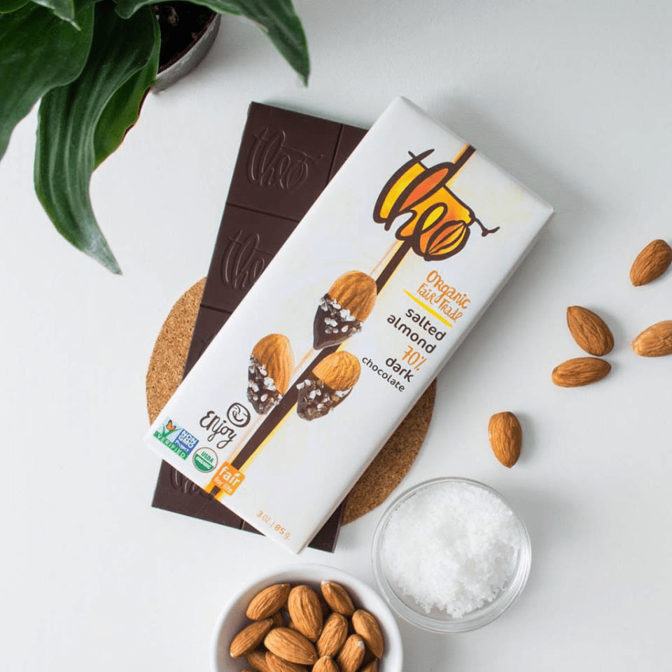 a salted almond dark chocolate bar from Theo Chocolate