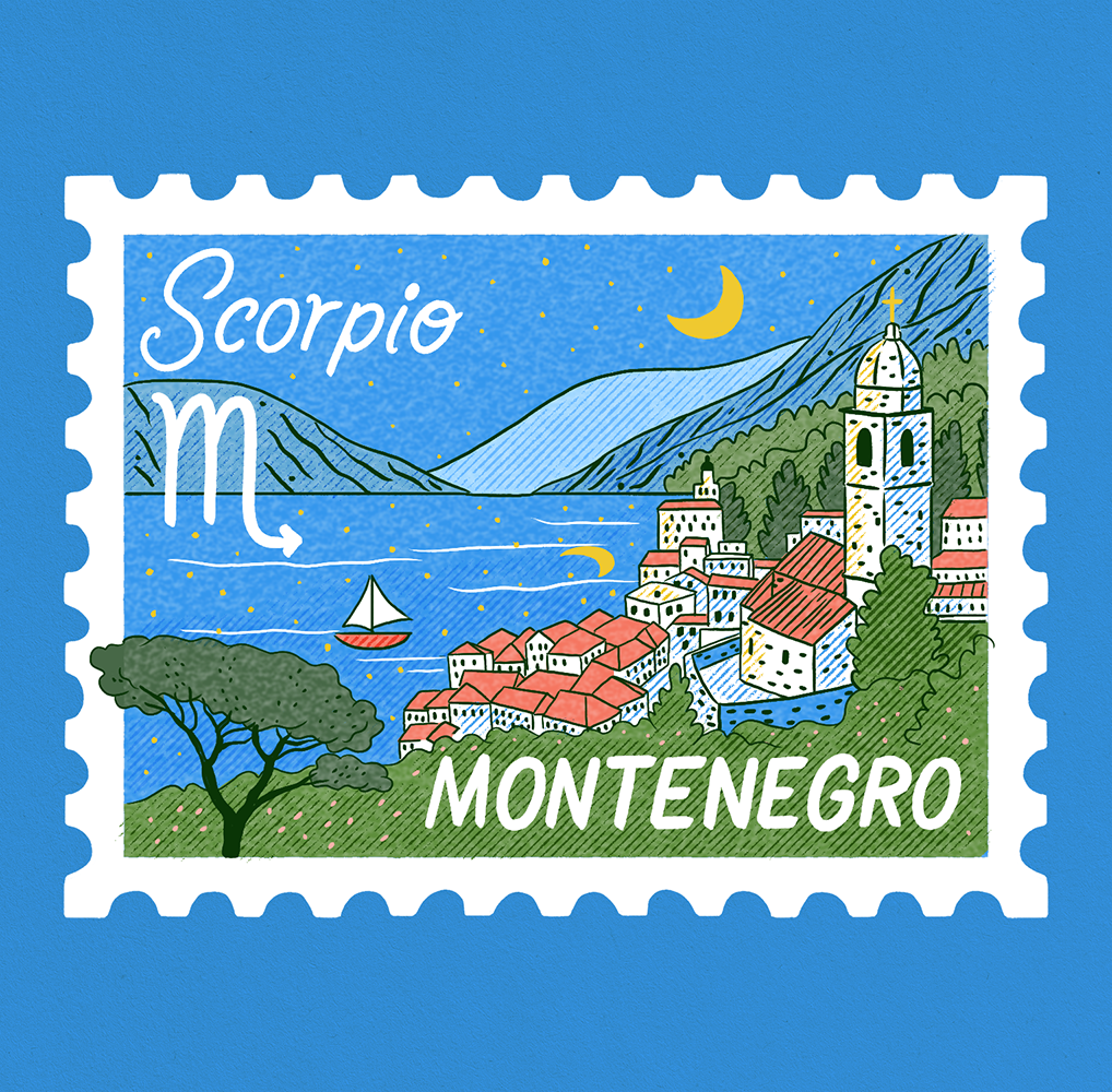 An illustration of a stamp showing a scene of Montenegro, the view of the fjord at night time. Scorpio is written on it.