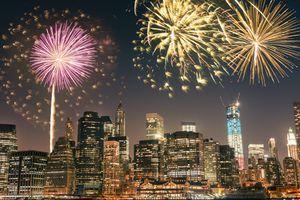 New Years fireworks over manhattan