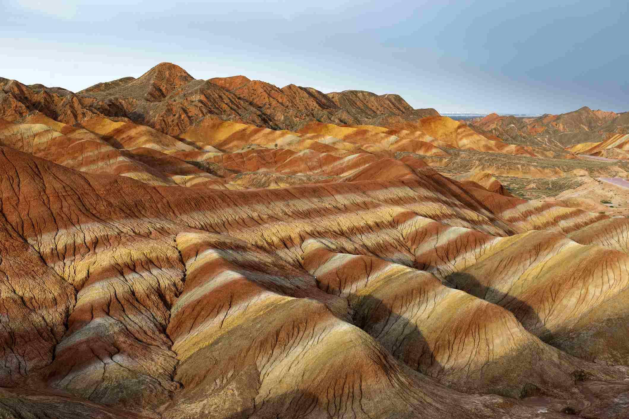 Zhangye Danxia National Geopark, Gansu, China Colorful landscape of rainbow mountains.