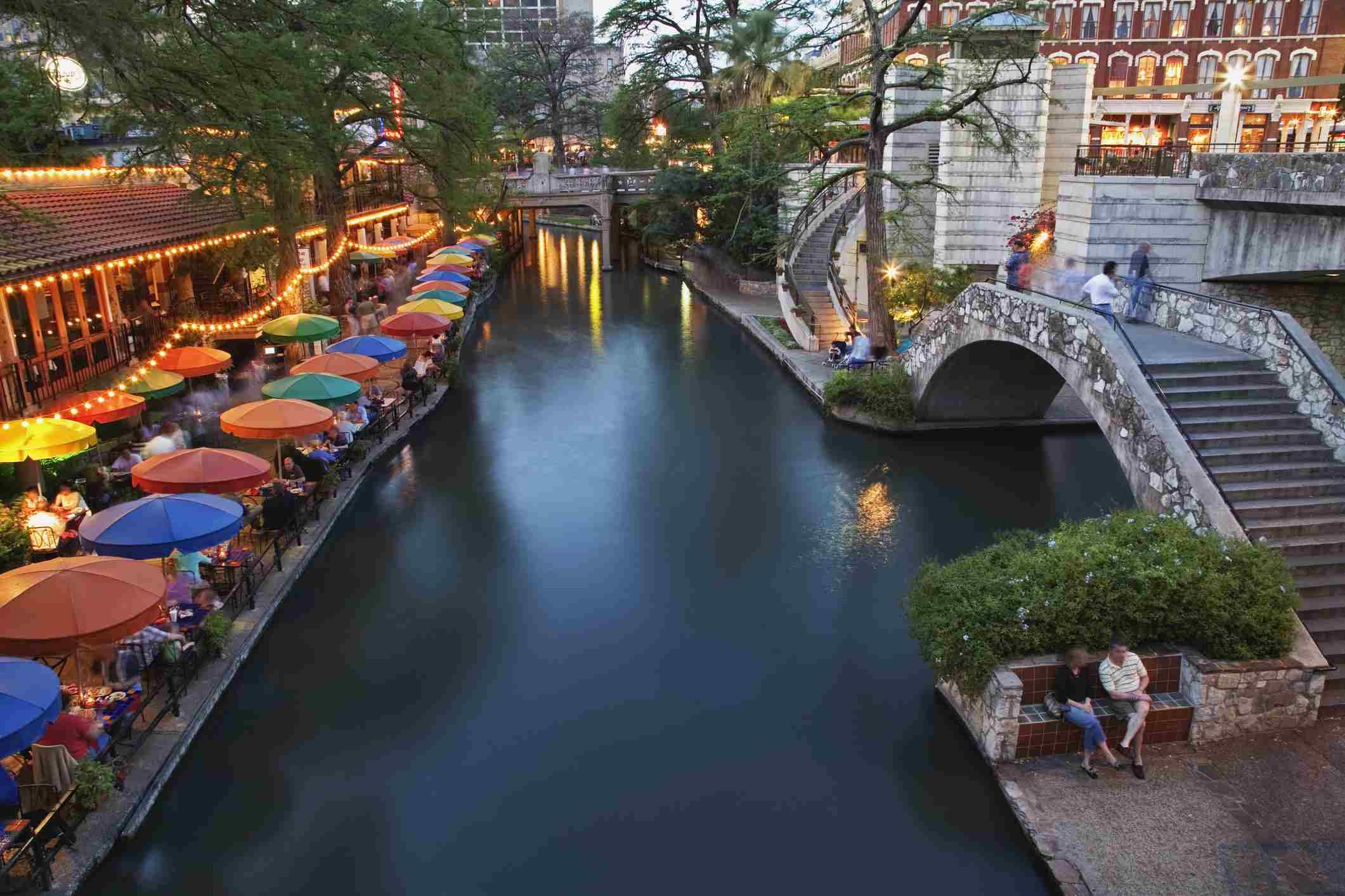 Texas, San Antonio, San Antonio River and River Walk at dusk