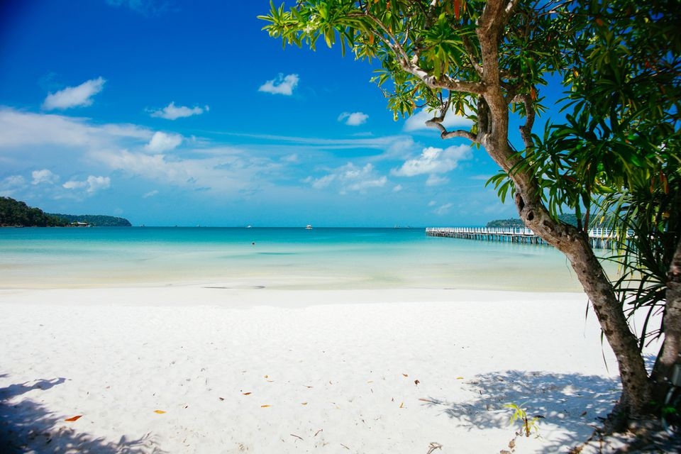 Blue water and white sand on Koh Rong, Cambodia